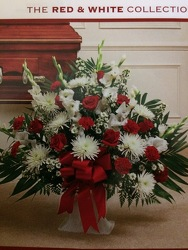 Red & White Funeral Basket from Philips' Flower & Gift Shop