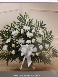 All White funeral basket from Philips' Flower & Gift Shop