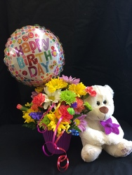 Birthday Bear Hug Bouquet from Philips' Flower & Gift Shop