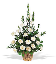 White Simplicity Funeral Basket from Philips' Flower & Gift Shop